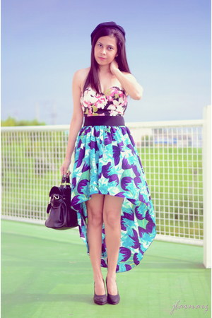 mullet floral coco cabana skirt - pumps S & H shoes - acccessorize hat