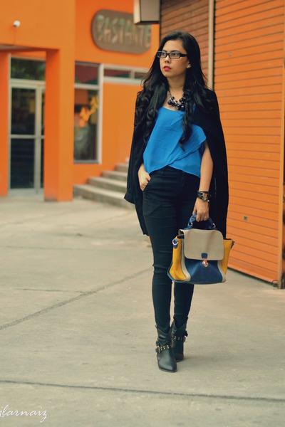 blue vintage top - black combat my boots - black cotton thrifted coat