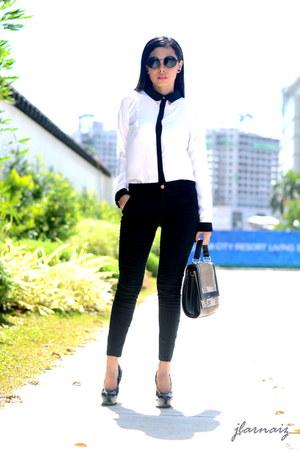 black metallic collar Oxygen top - pumps Payless shoes - satchel Celine bag