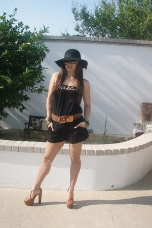 target romper - forever 21 hat - chanel sunglasses - heels