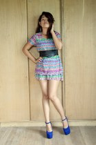 Korean apparel dress - wedges kara shoes - chain belt