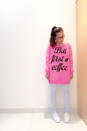 bubble gum oversized sweater - sky blue skinny pants - white H&M sneakers