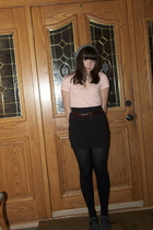 pink Old Navy t-shirt - brown YSL belt - black H&M skirt - black Target tights -