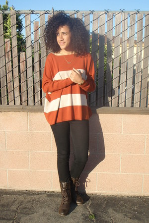 lace up Charlotte Russe boots - foreign exchange jeans - striped sears sweater -