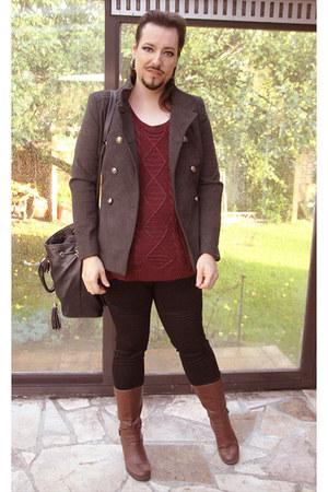 black Ikebana jeans - maroon Softgrey sweater - brown new look heels