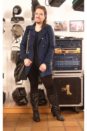 navy Softgrey blazer - black essence boots - black Canda leggings