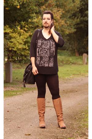 dark brown Canda top - black Ikebana leggings - bronze Hush Puppies heels