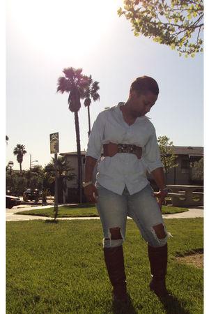 delias jeans - Wet Seal boots - Van Heusen blouse - zizibe belt
