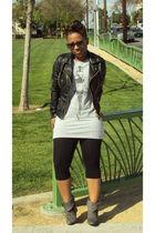 Forever 21 jacket - Forever 21 shirt - vintage leggings - Forever 21 shoes - Ald