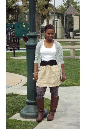 Forever 21 shirt - vintage skirt - Wet Seal boots - Kmart cardigan - Charlotte R