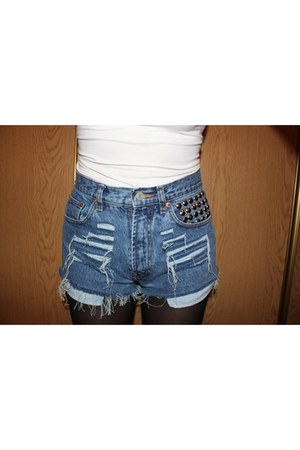 denim stud shorts