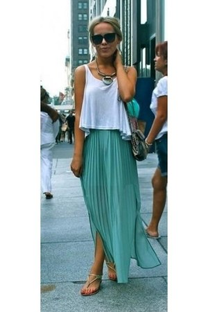 white top - aquamarine shirt - black sunglasses