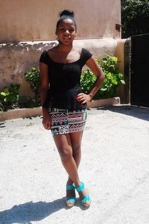 aztec print Bershka skirt - lace Bershka top