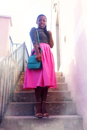 hot pink midi handmade skirt - navy stripes H&M shirt - beige nude Zara heels