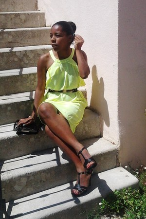neon H&M dress - metal Primark belt