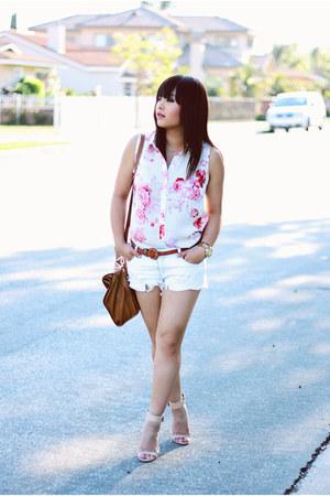 leather Zara purse - denim Zara shorts - sandal Zara sandals