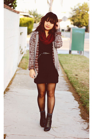 Forever 21 cardigan - leather Zara boots - Sugar Lips dress