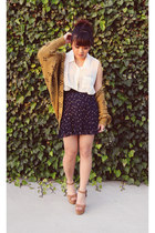 navy pleaded Forever 21 skirt - light brown kimono Forever 21 cardigan