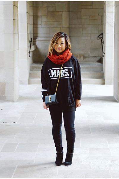 black suede Ivanka Trump boots - burnt orange knitted H&M scarf