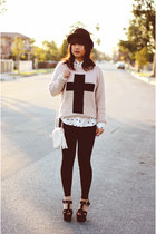 cross Forever 21 jumper - H&M hat - Forever 21 bag - acryllic Marc Jacobs watch
