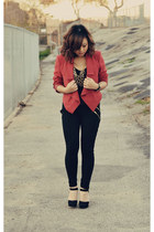 rusted red Forever 21 blazer - zipper Zara pants - suede Nine West heels
