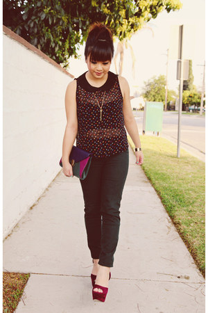 navy spades Forever 21 blouse - forest green Zara pants