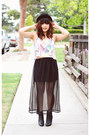 Leather-zara-boots-chiffon-sheinside-skirt-doodle-forever-21-top