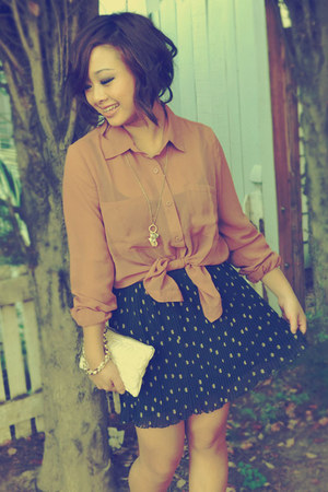 pleaded Forever 21 skirt - hearts deux lux bag - oxford Forever 21 wedges