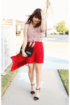 black Zara sandals - ruby red high low Forever 21 skirt