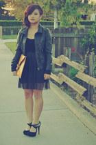gold lining Love Label heels - black H&M dress - mustard asos bag