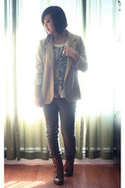 camel tan Urban Outiffters blazer - brown lace up Forever 21 boots