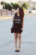 skort layered Zara shorts - Marc Jacobs bag - tank top Forever 21 t-shirt
