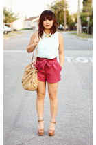 hot pink suede H&M shorts - light blue button up H&M blouse