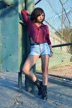 DIY shorts - combat Steve Madden boots - Fashion Q shirt