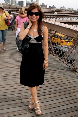 dress - balenciaga purse - coach shoes - Prada sunglasses