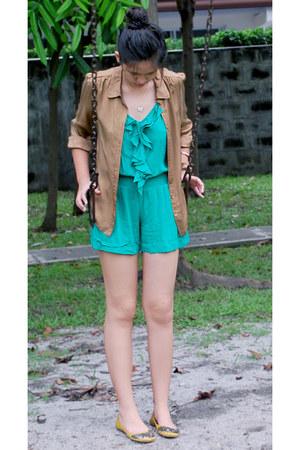brown Tara Jarmon blouse - teal Forever 21 romper - mustard Steve Madden flats