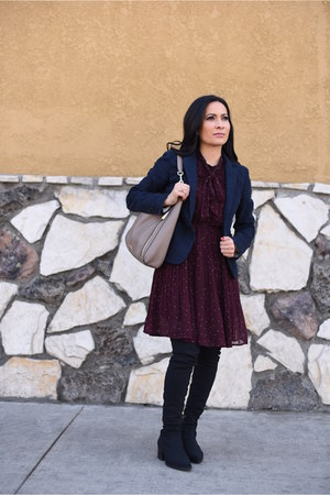 black donald pliner boots - maroon Blu Pepper dress - camel Michael Kors bag