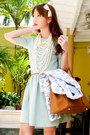 Aquamarine-zara-dress-white-zara-blazer-tawny-hermes-bag