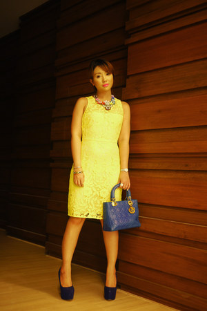 chartreuse JCrew dress - blue christian dior bag