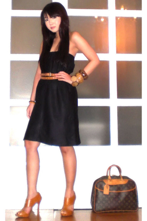 from my mom dress - Vintage from my mom belt - Louis Vuitton purse - online shoe