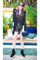 Soule Phenomenon boots - Forever 21 blazer - sling Zara bag - ava lace Glitterat