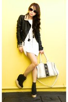 black Topshop jacket - white online dress - black Soule Phenomenon boots - ivory