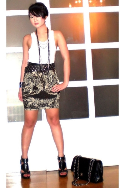 black 255 Chanel bag - black Anthem shoes - white tank Topshop top