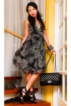 black 255 Chanel purse - black heels online shoes - black random dress