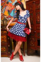 blue Zara dress - red michael antonio shoes - red skirt
