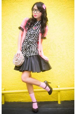 black Topshop skirt - pink floral rosette Topshop purse