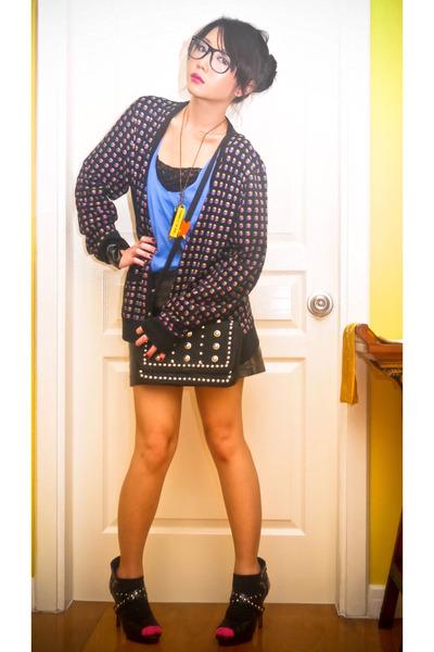 black Topman cardigan - black H&M skirt - blue Zara top - black Marks and Spence