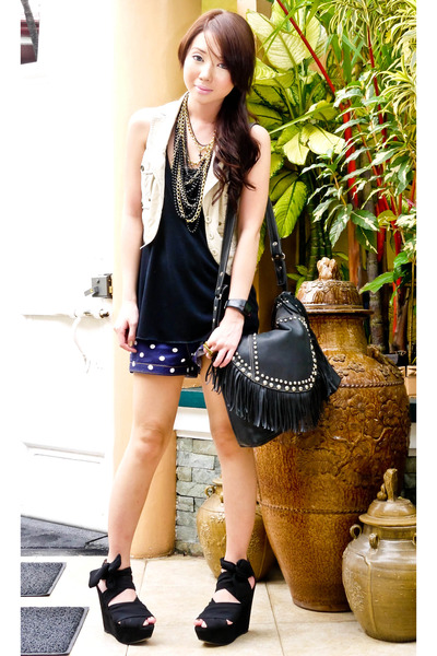 black studded fringed random bag - black Topshop shoes - navy Glitterati shorts