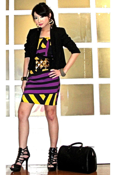 black Zara blazer - yellow schizo dress - black Glitterati belt - black online s