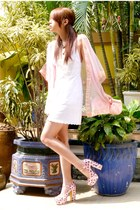white eyelet lace dress - peach Parisian bag - light pink Glitterati cape - ligh